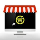 E-shoppa blå vektor för sky för oklarhetsbildregnbåge Arkivfoto