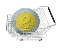 E-Shopping. E-commerce (metaphor with abstracted e-coin and a shopping cart Stock Photo
