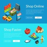 E-shopping baner För shoppingsymboler för vektor isometrisk online-illustration vektor illustrationer