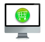 E-shopping cart. Illustration of a computer with a cart inside, for online shopping vector illustration