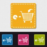 E-Shopping Cart - Four Colorful Square Buttons - Vector Illustration - Isolated On Transparent Background stock illustration