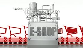 E-shopping concept with carts Royalty Free Stock Photo