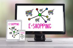 E-shopping concept on different devices. E-shopping concept shown on different information technology devices royalty free stock images