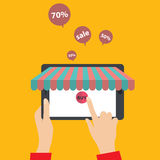 E-shopping concept. Hands touching a tablet. EPS 10 vector illustration