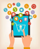 E-shopping concept. Hands touching a tablet with s Royalty Free Stock Photography