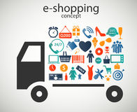 E-shopping concept icons vector illustration. E-shopping concept  icons vector illustration. This is file of EPS10 format Stock Photography