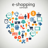 E-shopping concept icons vector illustration. E-shopping concept  icons vector illustration. This is file of EPS10 format Stock Image