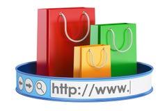 E-shopping, concetto online di acquisto rappresentazione 3d Fotografia Stock