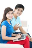 E-shopping for couple Stock Images