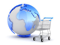 E-Shopping - Earth globe and shopping cart Stock Image