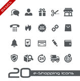 E-Shopping Icons // Basics. Vector icons for web, mobile or print in projects for Telecommunications, System Icons, Menu Apps, Social Communications and e Royalty Free Stock Images