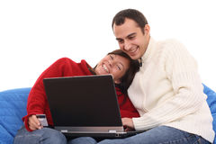 E-shopping with laptop Stock Photography