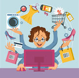 E-shopping. Multiarm woman shopped online store. E-shopping concept royalty free illustration