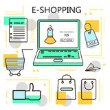 E-Shopping and Online Shopping Business. Internet and mobile marketing concept. For web and mobile phone services and apps.Vector. Line Illustration.Eps 10 Stock Photo