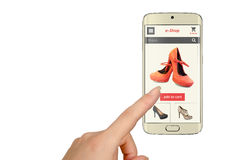 E shopping with smart phone with woman hand. Online shopping with smart phone with woman hand Stock Image