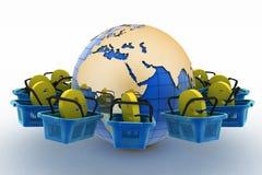 E-sign e-commerce shopping baskets around the globe Stock Photos