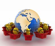 E-sign e-commerce shopping baskets around the globe Royalty Free Stock Images