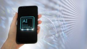 ?e?ska r?ka trzyma telefon na ekranie inskrypcja: sztuczna inteligencja ikona hologram 3D na serweru pokoju tle zdjęcia royalty free