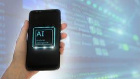 ?e?ska r?ka trzyma telefon na ekranie inskrypcja: sztuczna inteligencja ikona hologram 3D na serweru pokoju tle zdjęcie royalty free