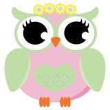 Żeńska sowa z Kwiecistym korona wektorem Zdjęcia Royalty Free