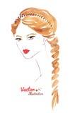 Żeńska twarz Warkocz fryzura Zdjęcie Royalty Free