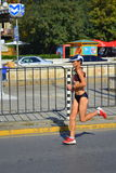 Żeński marathoner Sofia bulwar Fotografia Stock
