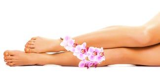 Żeńskie nogi z storczykowym kwiatem na bielu Fotografia Royalty Free