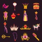 E Slott spegel, biskopsstol, vagn, skor, h?rborste, trollsp? stock illustrationer