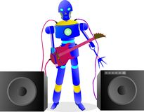 234e smart robot is playing the guitar for music Royalty Free Stock Photo