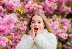 E Sniffa blommor r Flicka som tycker om blom- arom Unge p? rosa blommor royaltyfri fotografi