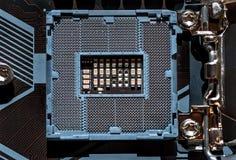 E Soquete do processador central os componentes principais de um computador Fundo eletr?nico fotos de stock royalty free