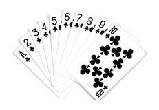 E Speelkaarten op witte achtergrond worden ge?soleerd die royalty-vrije stock afbeeldingen
