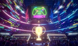 Free E-sport Arena In The Speed Of Glow Colorful, 3d Rendering Illustration Royalty Free Stock Photo - 175766405