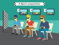E-sport loppkonkurrens med virtuell verklighetexponeringsglas Fotografering för Bildbyråer