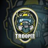 E-sports mascot of futiristic trooper soldier head in heavy helmet stock illustration