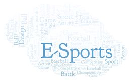 E-Sports word cloud. Made with text only royalty free illustration