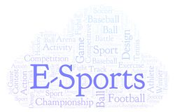 E-Sports word cloud. Made with text only stock illustration