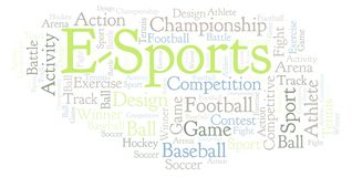E-Sports word cloud. Made with text only vector illustration