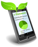 E-Statement on cell phone. Save paper Royalty Free Stock Images