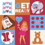 E Stilfull flicka med tillbehör, björn, fåglar kanter hjärtor, sötsaker, korsett royaltyfri illustrationer