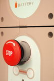 E-stop button of an industrial battery operated device Stock Image