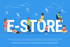 E-store online shopping concept illustration Royalty Free Stock Images