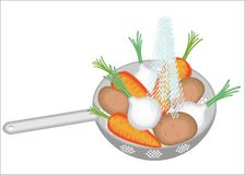 E Sur les pommes de terre de passoire, oignons, carottes Les légumes juteux devraient être propres mangé illustration de vecteur