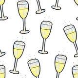 E Szkło szampan na białym tle szcz??liwego nowego roku, ilustracja wektor