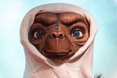 E.T. the Extra Terrestrial, wax sculpture, Madame Tussaud. E.T. the Extra Terrestrial, movie character Steven Spielberg created by Wax sculpture in museum of stock photography