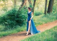Dziewczyna w wieczór, luksusowym, akwareli suknia z wysokości rozchyleniem, T?sk nogi Wizerunek przyjęcie, potomstwa zdjęcie royalty free