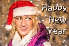 E-tarjeta de los saludos de la Feliz Año Nuevo Fotografía de archivo