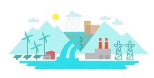 E Terrängflod och sjö Sol- energi ukraine för station för dnepr vattenkraftflod zaporozhye Royaltyfri Foto
