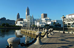 Erie Lakefront E. 9th Street Pier Downtown Cleveland, Ohio. A view of downtown Cleveland, The Great Lakes Science Center & FirstEnergy Stadium from the E. 9th royalty free stock photo
