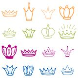 E tiara Corona del bosquejo de la diadema Tiara exhausta de la reina de la mano, corona del rey S?mbolos imperiales reales de la  ilustración del vector